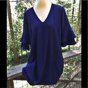 Lush navy blue flutter sleeve mini dress